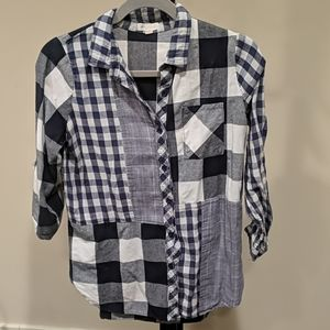 Blue and white plaid mixed button up, Small